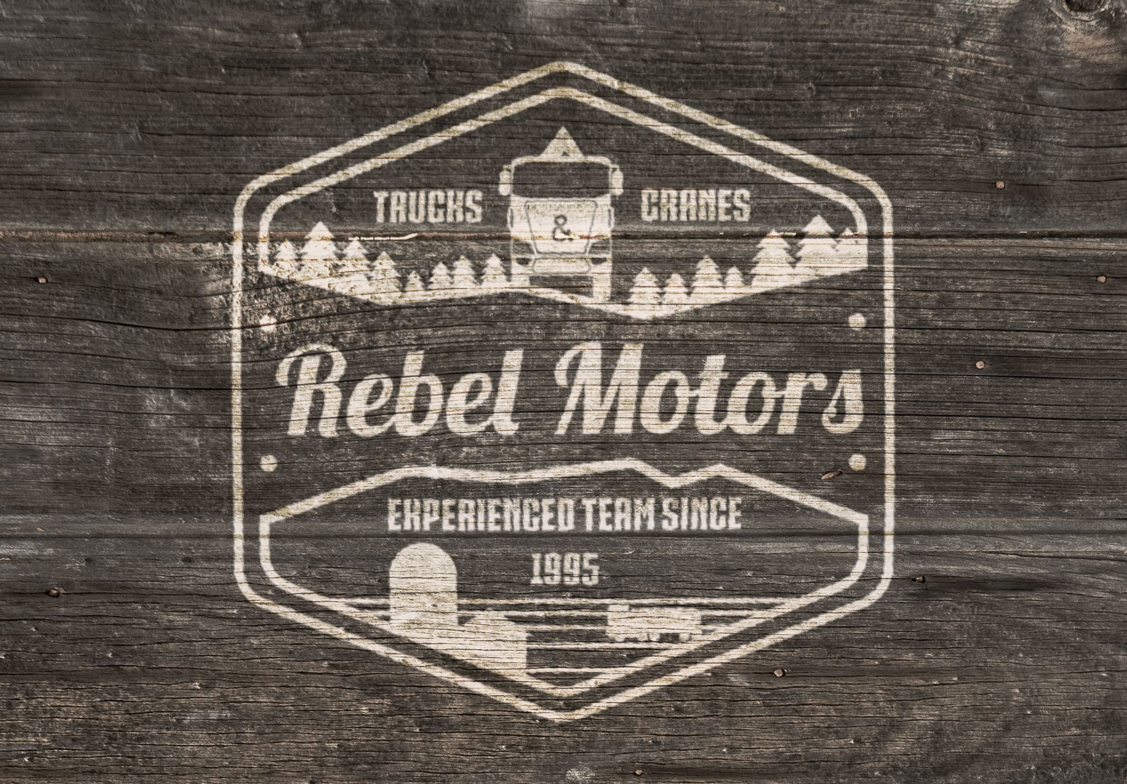 Rebel Motors (Retro style logo presentation for agro vehicle company)